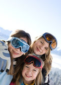 Young smiling girls on ski camp — Stok fotoğraf