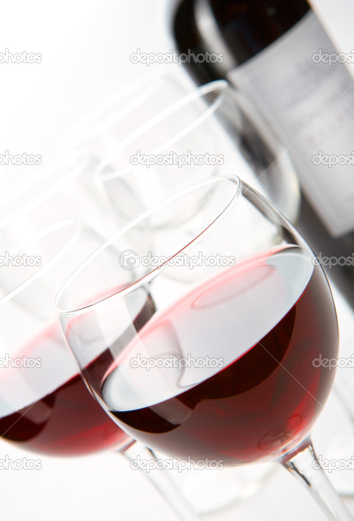 Two glasses of wine in the bottle and glass background  Stock Photo #1854655