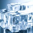 Ice cubes in blue ambient light — Stock Photo