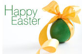 Green easter egg - greetings — Stock Photo