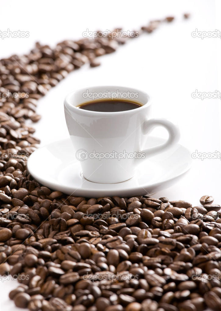 Coffee cup and grain on white background  — Stock Photo #1874318