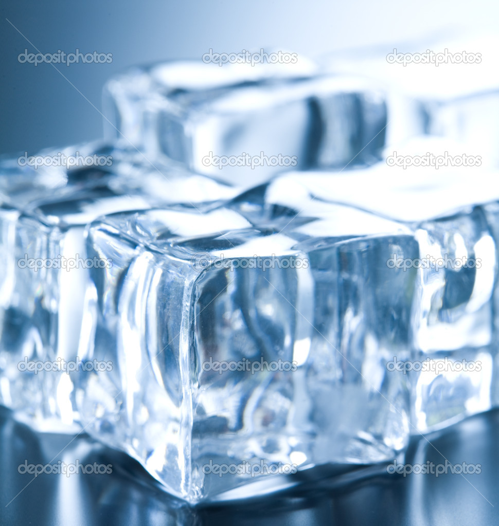 Ice cubes in blue ambient light. Good for background  — Stock Photo #1874798