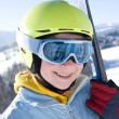 Happy girl with ski — Stock Photo