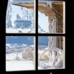 View of winter storm through window — Stock Photo