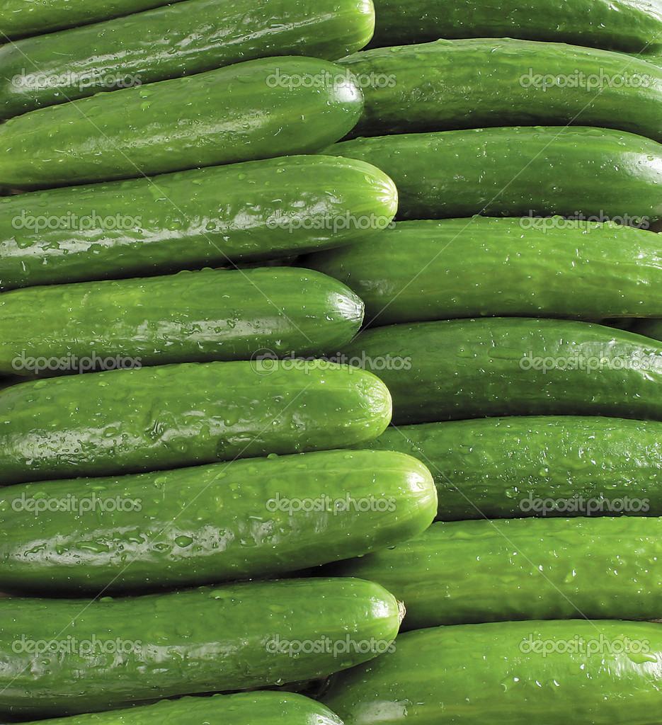 Close ip on fresh green cucumbers — Stock Photo #2030745