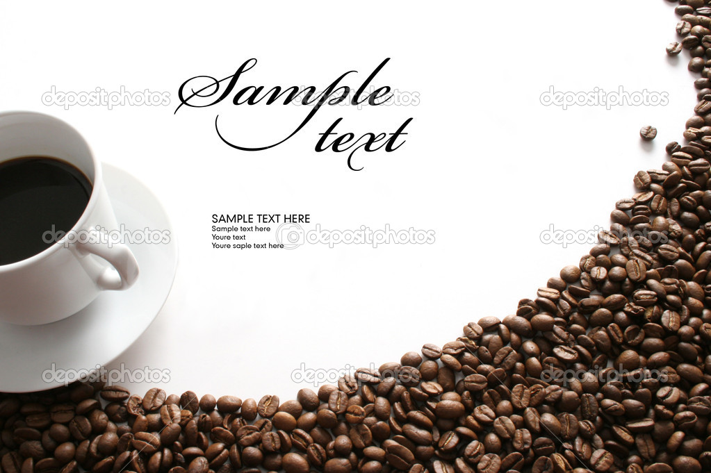 White cup of coffee and coffee beans on white background. — Stock Photo #2099751