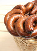 Sausages in the basket — Stock Photo