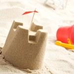 Sand castle on the beach — Stock Photo