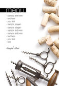 Corkscrews and corks. Project of a wine — Stock Photo