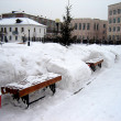 Stock Photo: Benches in snowdrifts�
