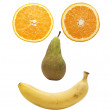 Fruit face over white - Stok fotoraf