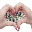 Money heart and hands — Stockfoto