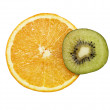 Orange and kiwi slice — Stock Photo