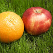 Apple and orange on grass — Stock Photo