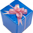 scatola regalo blu — Foto Stock