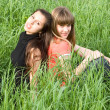 Girls in green grass — Stok fotoğraf