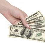 dinero en mano de la mujer — Foto de Stock