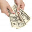 Foto Stock: Money in woman hands