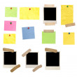 Photo frames and colored empty notes — Stock Photo