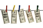 Dollars on a rope — Stock Photo