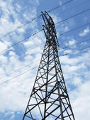 Pole and power lines — Stock Photo