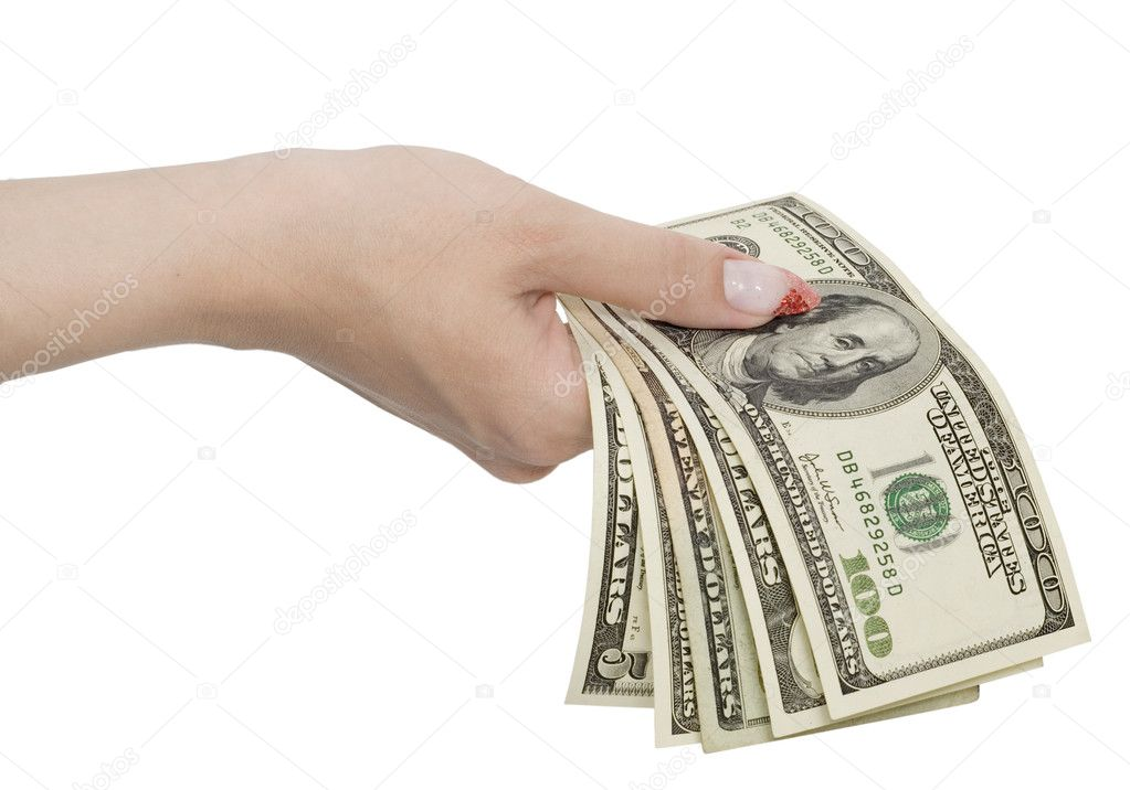 Dollars in woman hands isolated on white — Stock Photo #1804119
