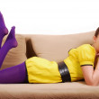 Stock Photo: Woman on sofa