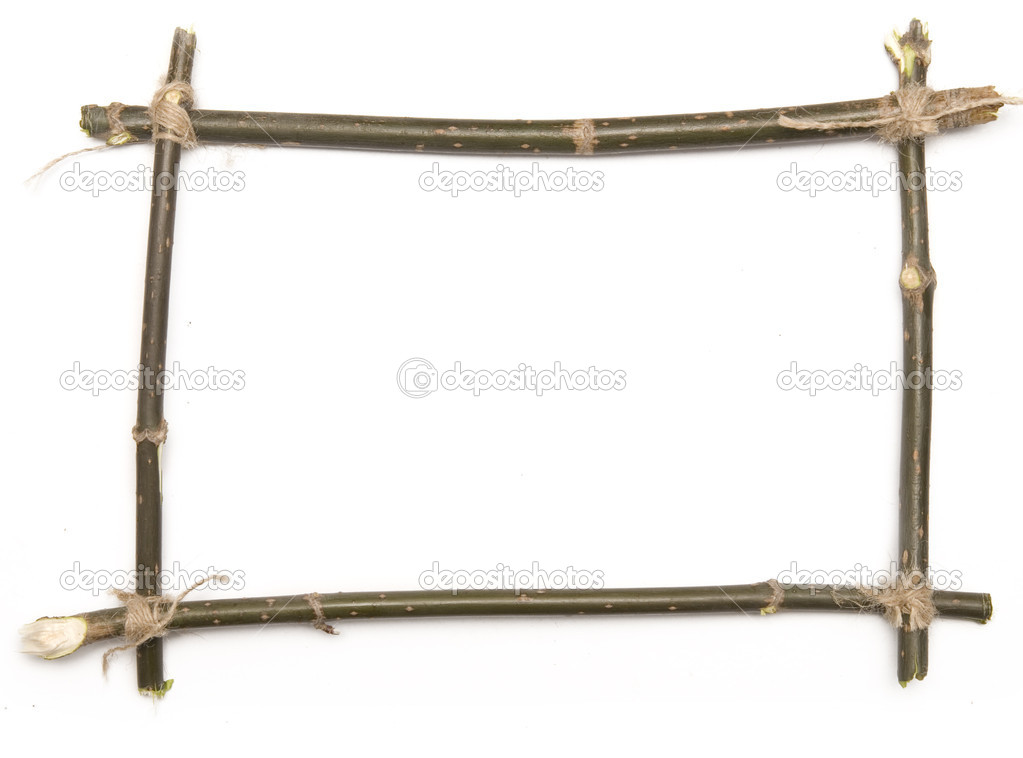 Twig frame over white background — Stock Photo #1826916