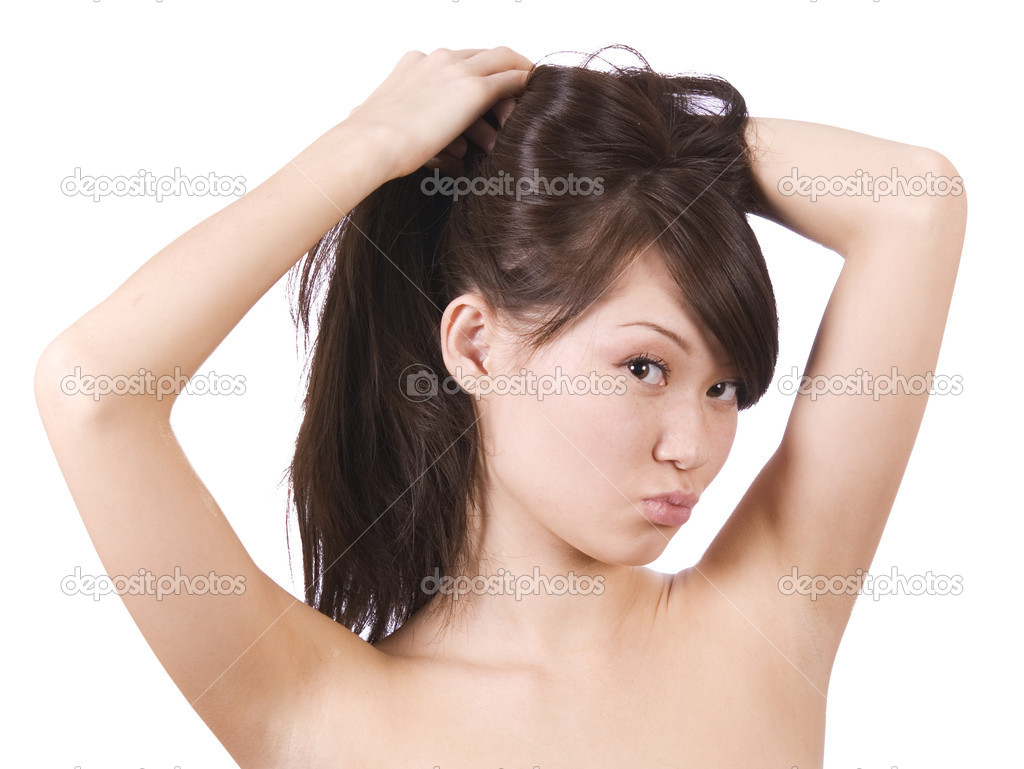 The young pretty woman over white background — Stock Photo #1828994