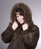 Woman in fur coat — Stock Photo