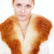Woman in fur coat — Stock Photo