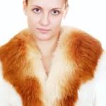 mujer abrigo de piel — Foto de Stock