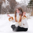 Woman with snow — Foto de Stock