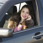 Pretty woman in the car — Stock Photo
