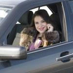 Woman in car — Stock Photo