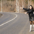 Woman on road — Stock Photo