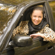 Woman in auto - Stock Photo