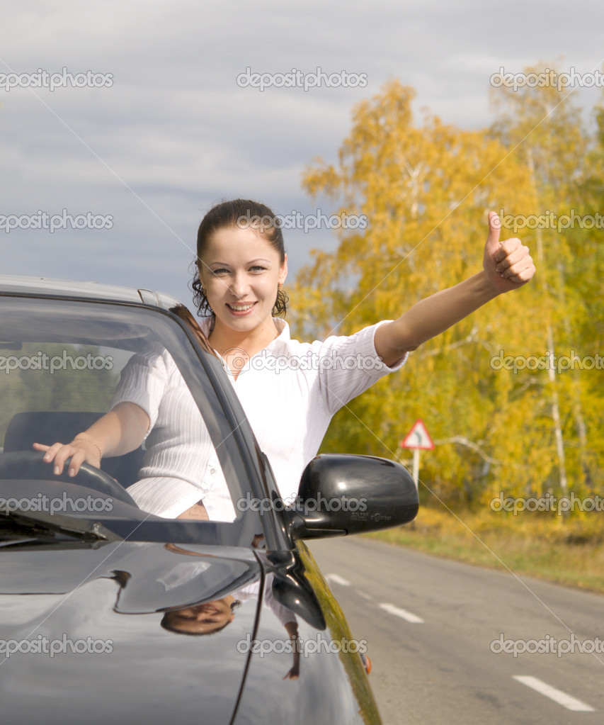 Young happy woman with her new car — Stock Photo #1883425