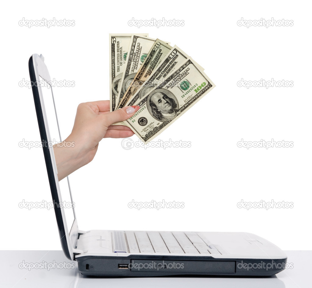 Hand with money comes from laptop screen isolated on white — Stock Photo #1885139