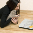 Stock Photo: Woman and cat