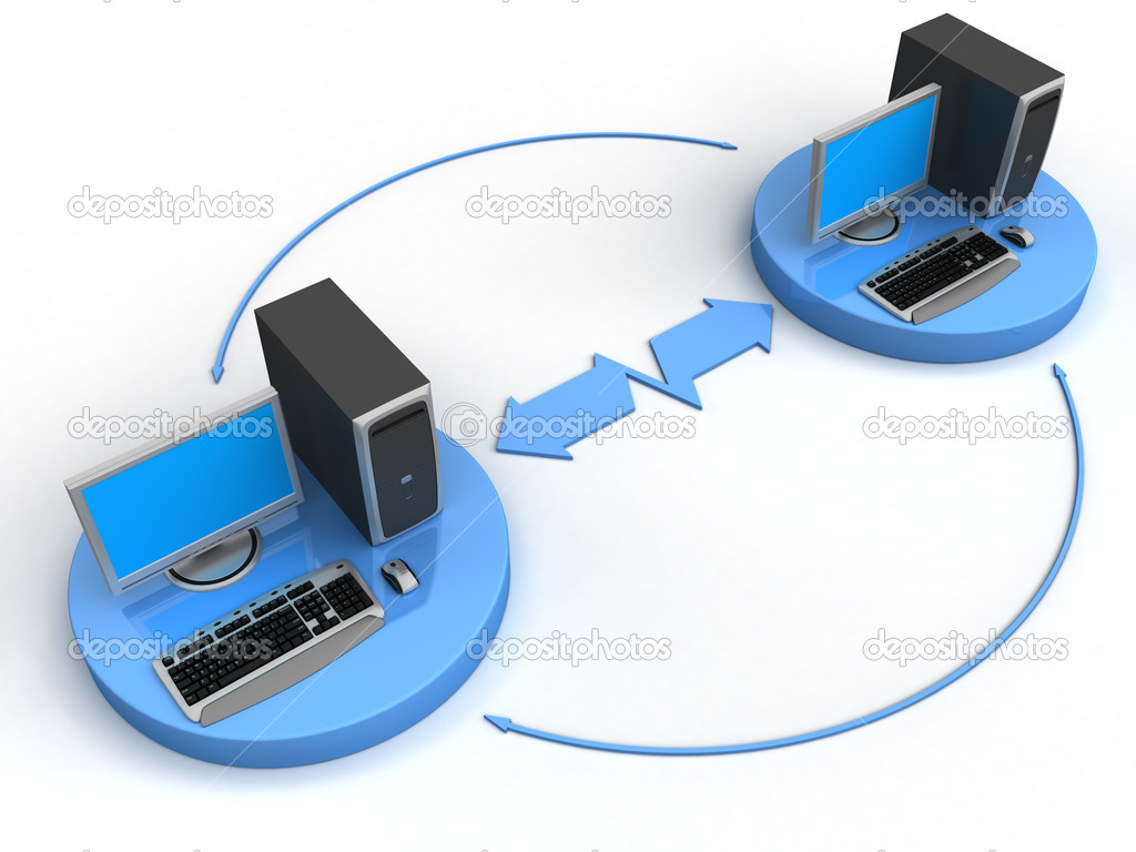 Image of computer network. White background.  Stock Photo #1811410