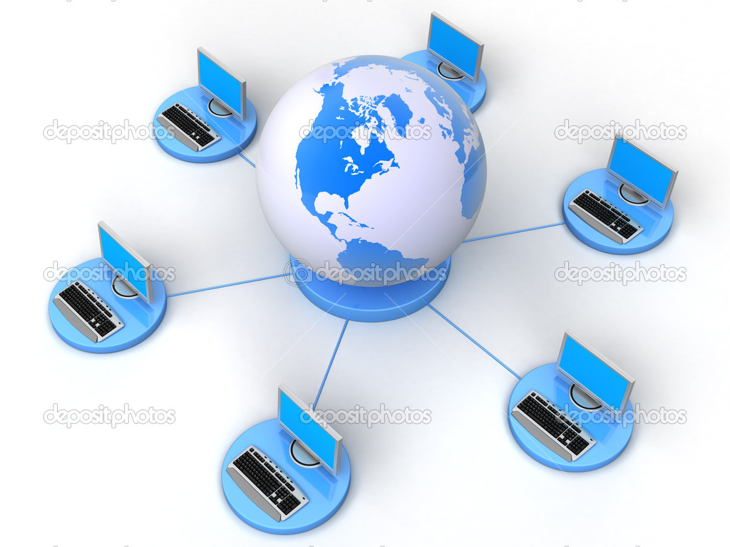 Image of computer network. White background. — Stock Photo #1812132