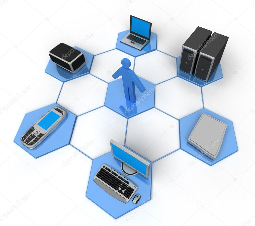 Image of computer network. White background. — Stock Photo #1833085