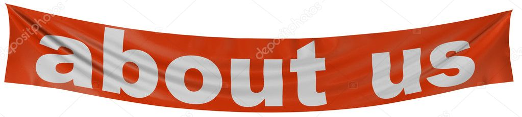 Large about us banner with fabric surface texture. White background.  Stock Photo #1833192