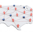 USA Networking Map - Stock Photo