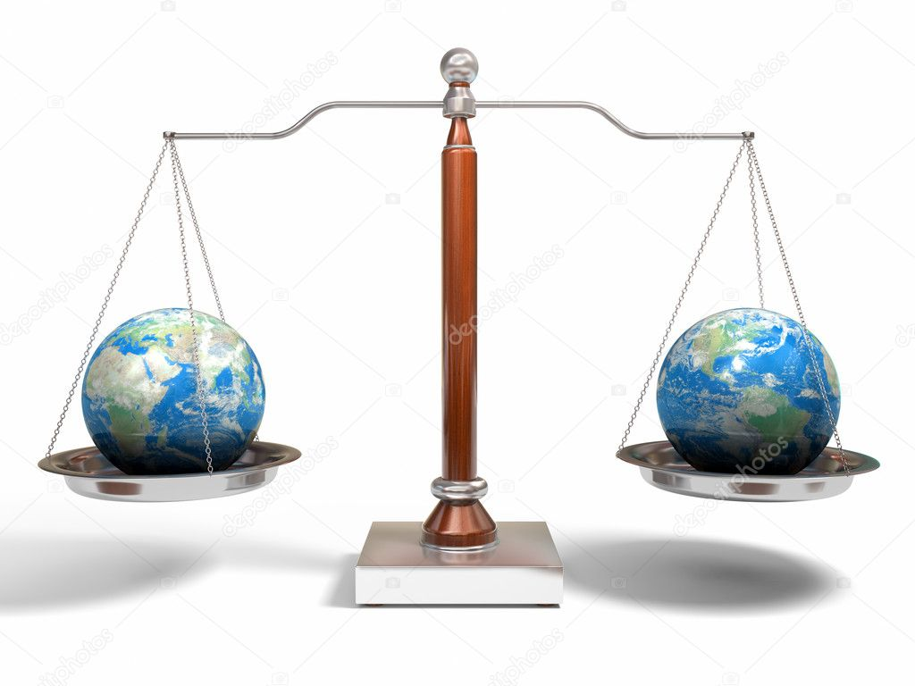 3d image of balance scale on white — Stock Photo #1850154