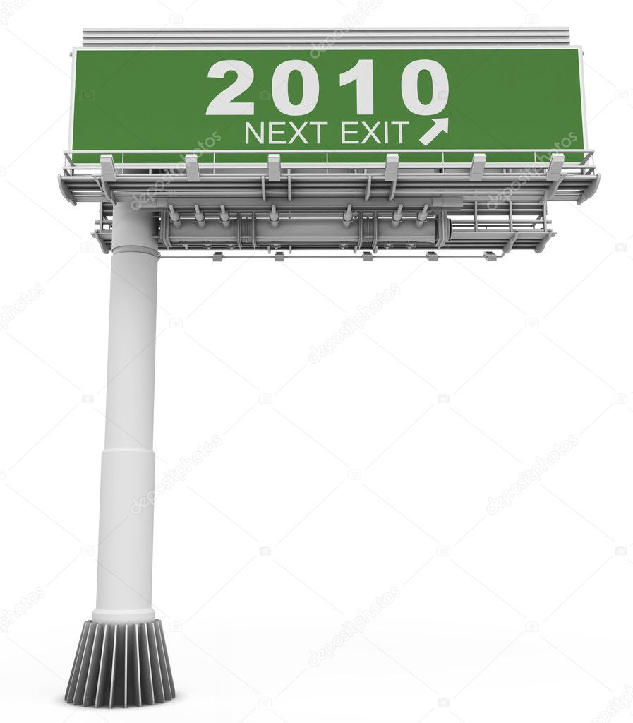 High resolution 3D render of freeway sign, next EXIT 2010! — Stock Photo #1858274