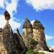 Stone pillars in Cappadocia - Stock Photo