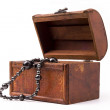 Wood box and pearls — Stock Photo