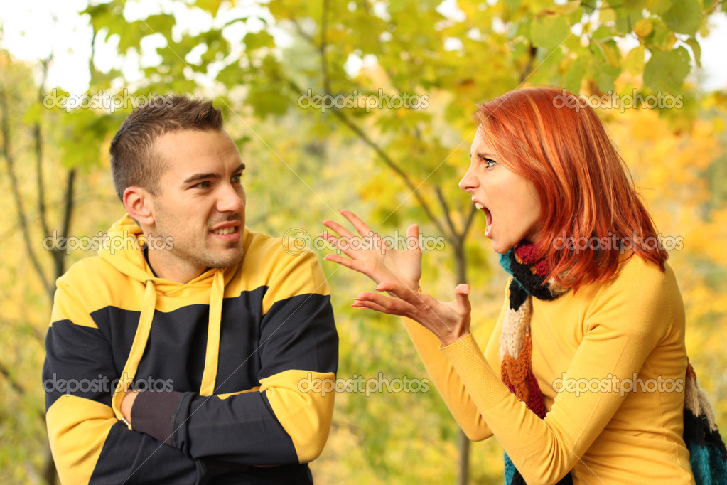 Young pair quarrel in park — Stock Photo #2026537
